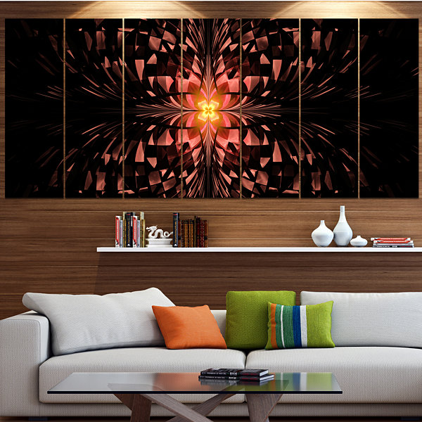 Designart Brown Butterfly Pattern On Black Abstract Art On Canvas - 7 Panels