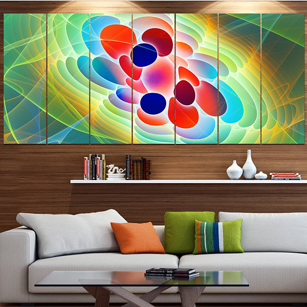 Red Blue Fractal Virus Design Abstract Art On Canvas - 6 Panels
