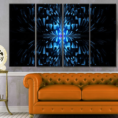Designart Blue Butterfly Pattern On Black AbstractArt On Canvas - 4 Panels