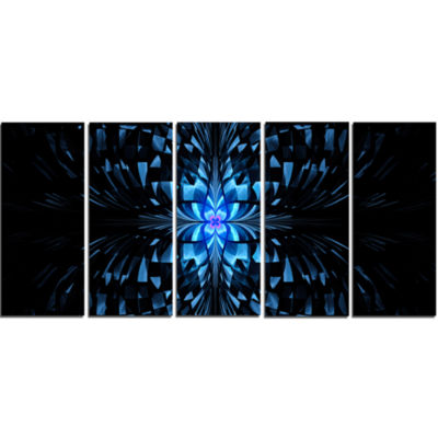 Blue Butterfly Pattern On Black Abstract Art On Canvas - 5 Panels