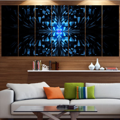 Blue Butterfly Pattern On Black Abstract Art On Canvas - 6 Panels