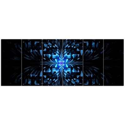 Designart Blue Butterfly Pattern On Black AbstractArt On Canvas - 6 Panels