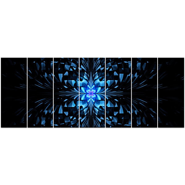 Designart Blue Butterfly Pattern On Black AbstractArt On Canvas - 7 Panels