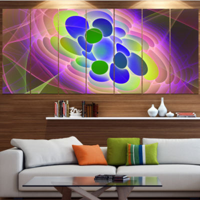 Blue Green Fractal Virus Design Abstract Art On Canvas - 4 Panels