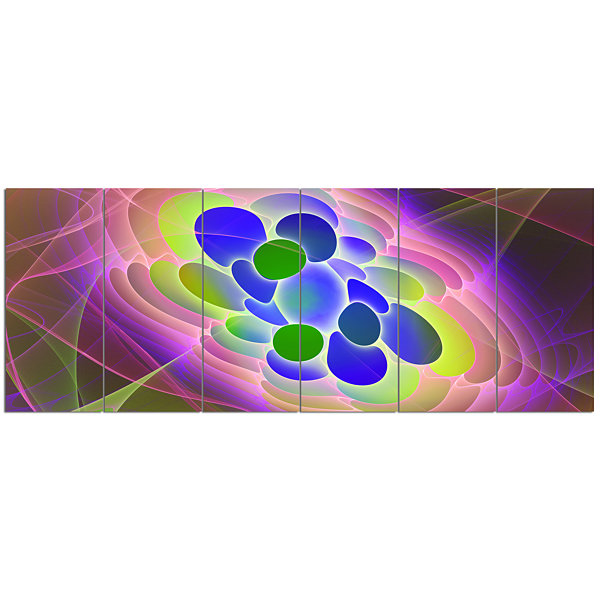 Designart Blue Green Fractal Virus Design AbstractArt On Canvas - 6 Panels