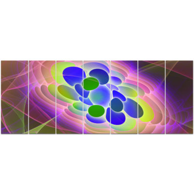 Blue Green Fractal Virus Design Abstract Art On Canvas - 7 Panels