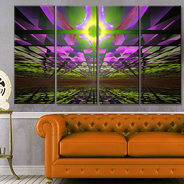 Fractal Cosmic Apocalypse Abstract Art On Canvas -4 Panels