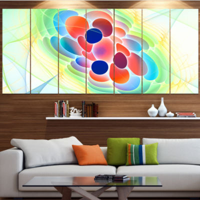 Fractal Virus Under Microscope Abstract Wall Art Canvas - 4 Panels