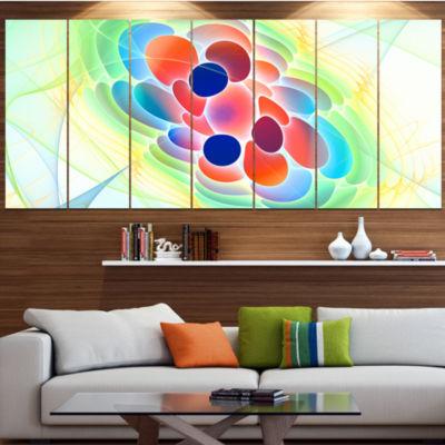 Fractal Virus Under Microscope Contemporary Wall Art Canvas - 5 Panels
