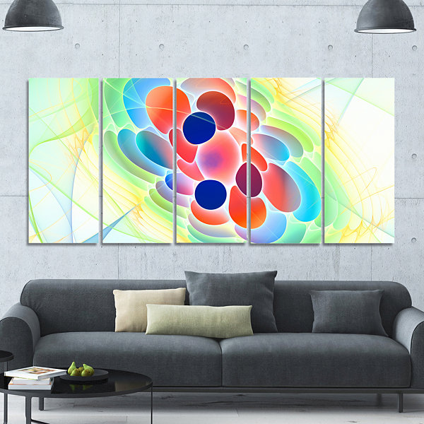 Fractal Virus Under Microscope Abstract Wall Art Canvas - 5 Panels