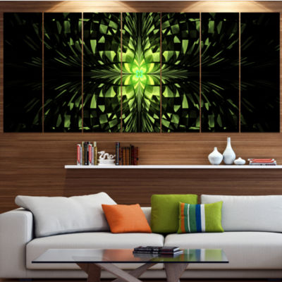 Green Butterfly Pattern On Black Contemporary WallArt Canvas - 5 Panels