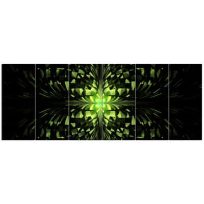 Green Butterfly Pattern On Black Abstract Wall ArtCanvas - 6 Panels