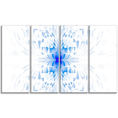 Designart Blue Butterfly Outline On White AbstractWall ArtCanvas - 4 Panels