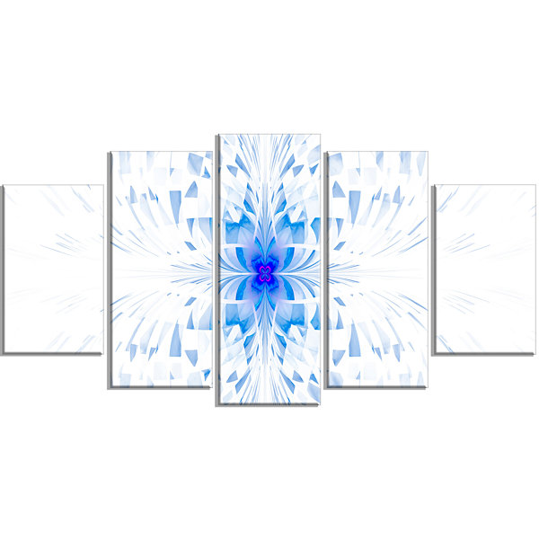 Designart Blue Butterfly Outline On White Contemporary WallArt Canvas - 5 Panels