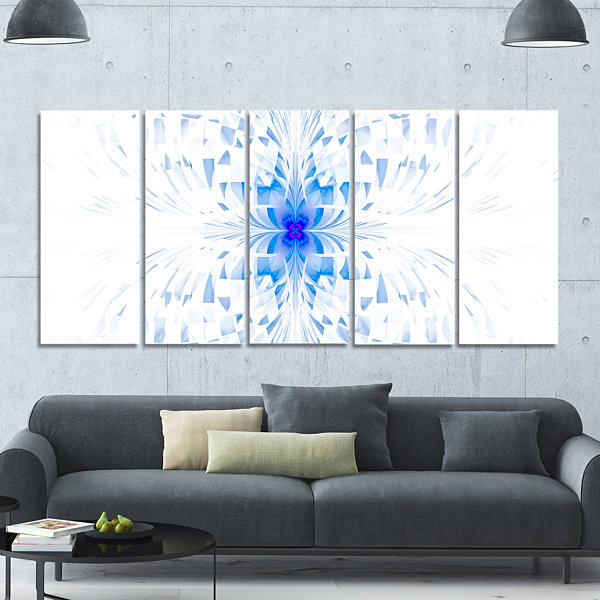 Designart Blue Butterfly Outline On White AbstractWall ArtCanvas - 5 Panels