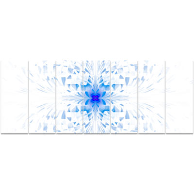 Blue Butterfly Outline On White Abstract Wall ArtCanvas - 7 Panels