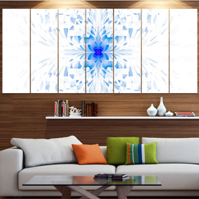 Designart Blue Butterfly Outline On White AbstractWall ArtCanvas - 7 Panels