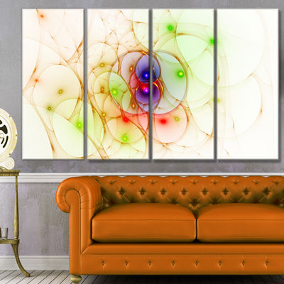 Spherical Colorful Fractal Design Abstract Wall Art Canvas - 4 Panels