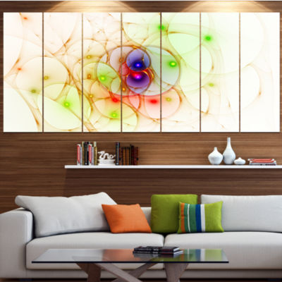 Spherical Colorful Fractal Design Contemporary Wall Art Canvas - 5 Panels