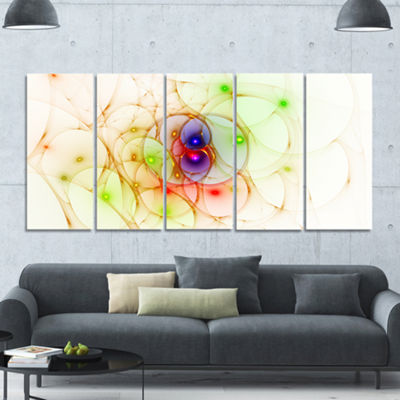 Spherical Colorful Fractal Design Abstract Wall Art Canvas - 5 Panels