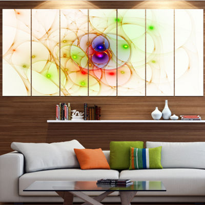 Spherical Colorful Fractal Design Abstract Wall Art Canvas - 7 Panels