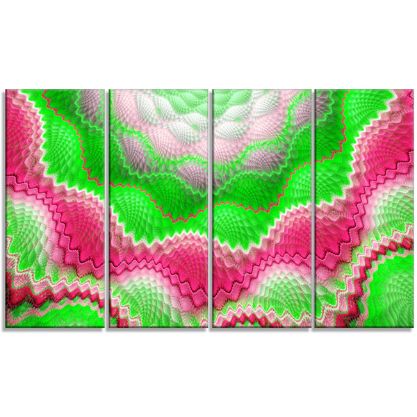 Snake Skin Exotic Flower Abstract Wall Art Canvas-4 Panels