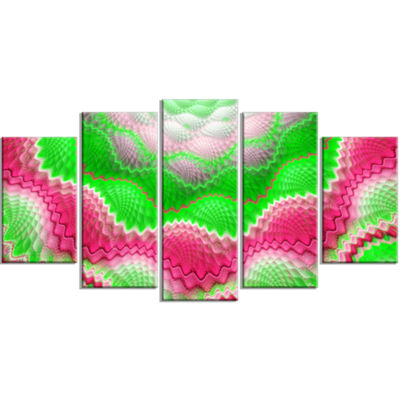 Snake Skin Exotic Flower Contemporary Wall Art Canvas - 5 Panels