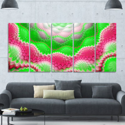 Snake Skin Exotic Flower Abstract Wall Art Canvas- 5 Panels