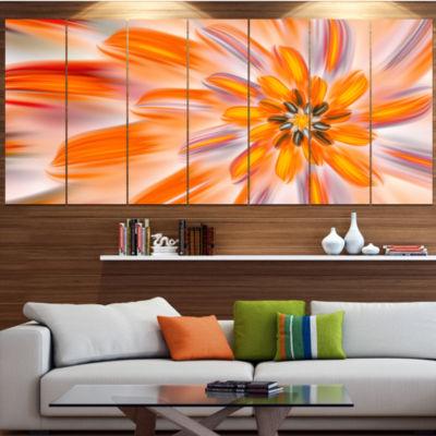 Designart Dance Of Fractal Yellow Petals AbstractWall Art Canvas - 4 Panels