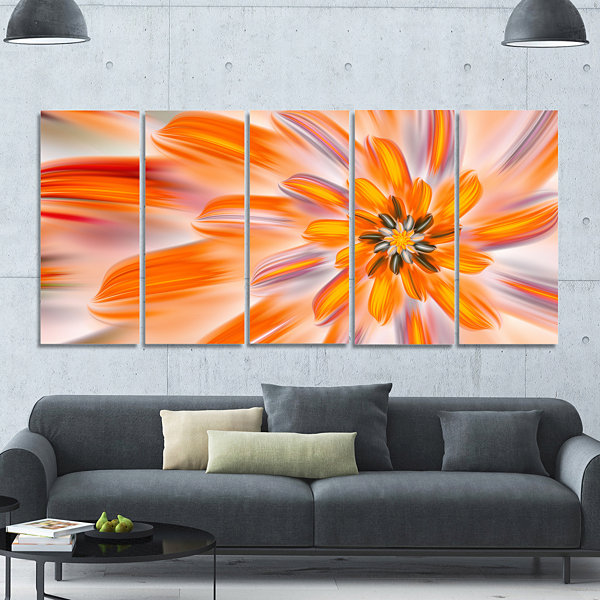 Designart Dance Of Fractal Yellow Petals AbstractWall Art Canvas - 5 Panels