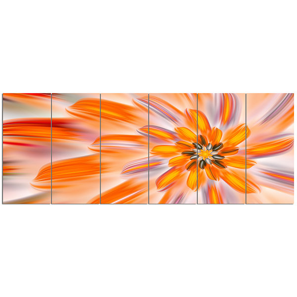 Designart Dance Of Fractal Yellow Petals AbstractWall Art Canvas - 6 Panels