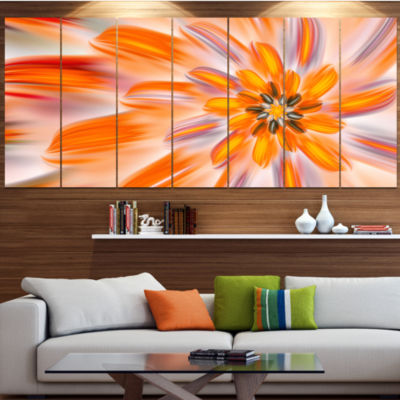 Designart Dance Of Fractal Yellow Petals AbstractWall Art Canvas - 7 Panels