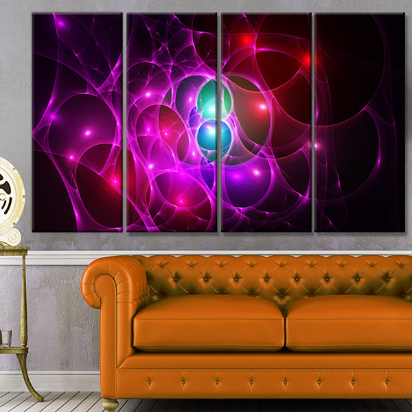Pink Glowing Bubbles Time Abstract Wall Art Canvas- 4 Panels