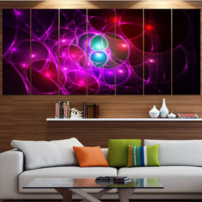 Pink Glowing Bubbles Time Abstract Wall Art Canvas- 7 Panels