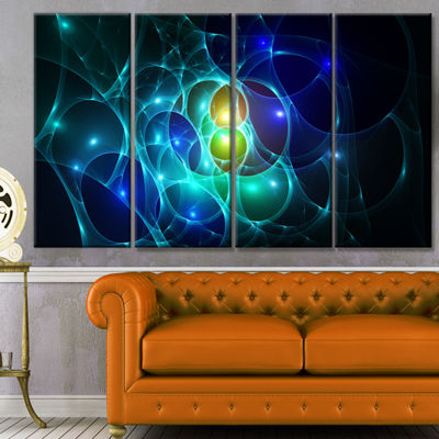 Designart Blue Glowing Bubbles Time Abstract WallArt Canvas- 4 Panels