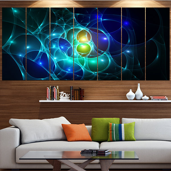 Designart Blue Glowing Bubbles Time Abstract WallArt Canvas- 6 Panels