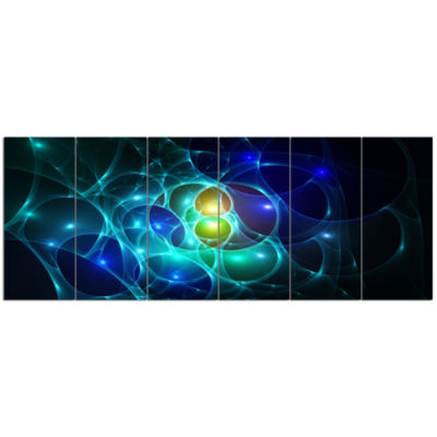 Blue Glowing Bubbles Time Abstract Wall Art Canvas- 6 Panels