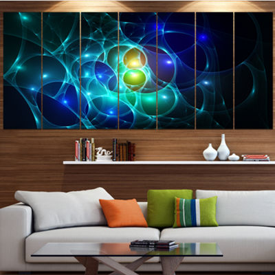 Designart Blue Glowing Bubbles Time Abstract WallArt Canvas- 7 Panels