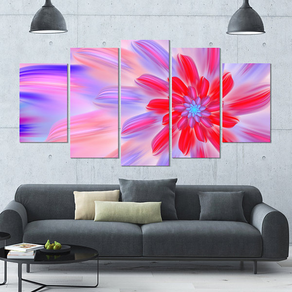 Designart Dance Of Fractal Pink Petals Contemporary Wall ArtCanvas - 5 Panels