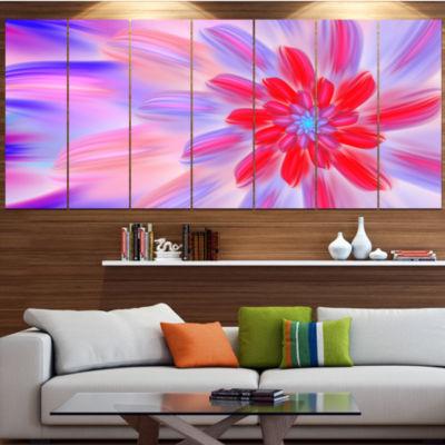 Dance Of Fractal Pink Petals Abstract Wall Art Canvas - 6 Panels