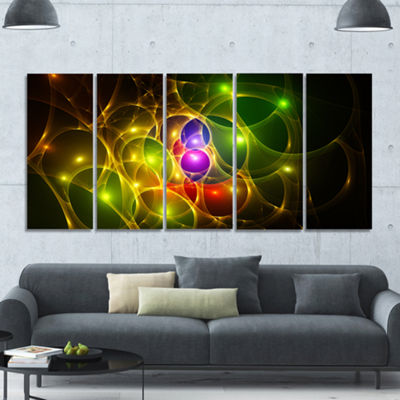 Glowing Fractal Underwater World Abstract Wall ArtCanvas - 5 Panels