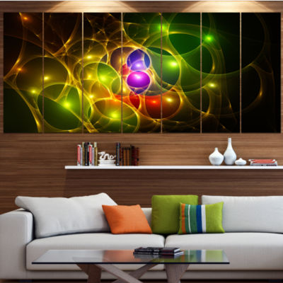 Glowing Fractal Underwater World Abstract Wall ArtCanvas - 7 Panels
