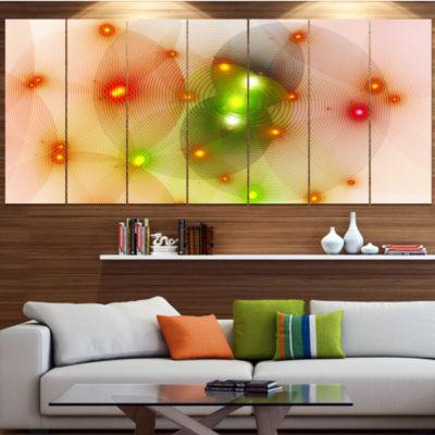 Orange Fractal Lights In Fog Abstract Wall Art Canvas - 4 Panels