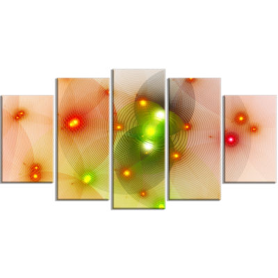 Orange Fractal Lights In Fog Contemporary Wall ArtCanvas - 5 Panels