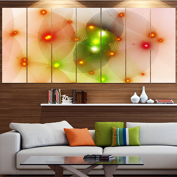 Orange Fractal Lights In Fog Abstract Wall Art Canvas - 7 Panels