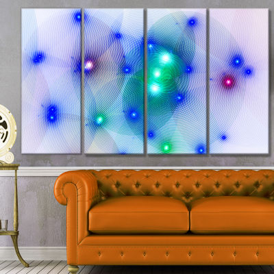 Blue Fractal Lights In Fog Abstract Wall Art Canvas - 4 Panels