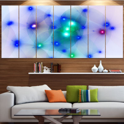 Blue Fractal Lights In Fog Contemporary Wall Art Canvas - 5 Panels