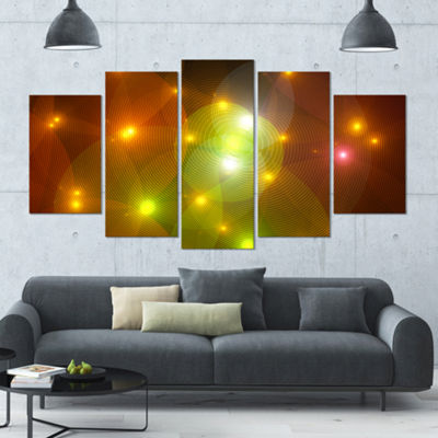 Golden Fractal Lights In Fog Contemporary Wall ArtCanvas - 5 Panels