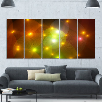 Golden Fractal Lights In Fog Abstract Wall Art Canvas - 5 Panels