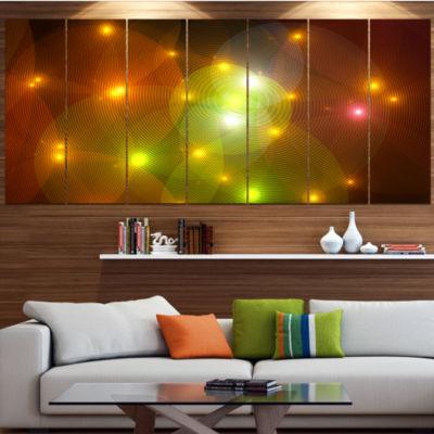 Golden Fractal Lights In Fog Abstract Wall Art Canvas - 6 Panels